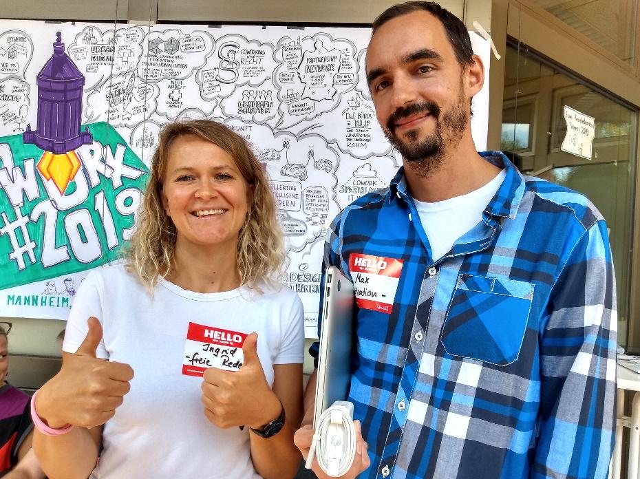 Freie Rednerin Ingrid aus Heidelberg mit Illustrator Max Bachmeier