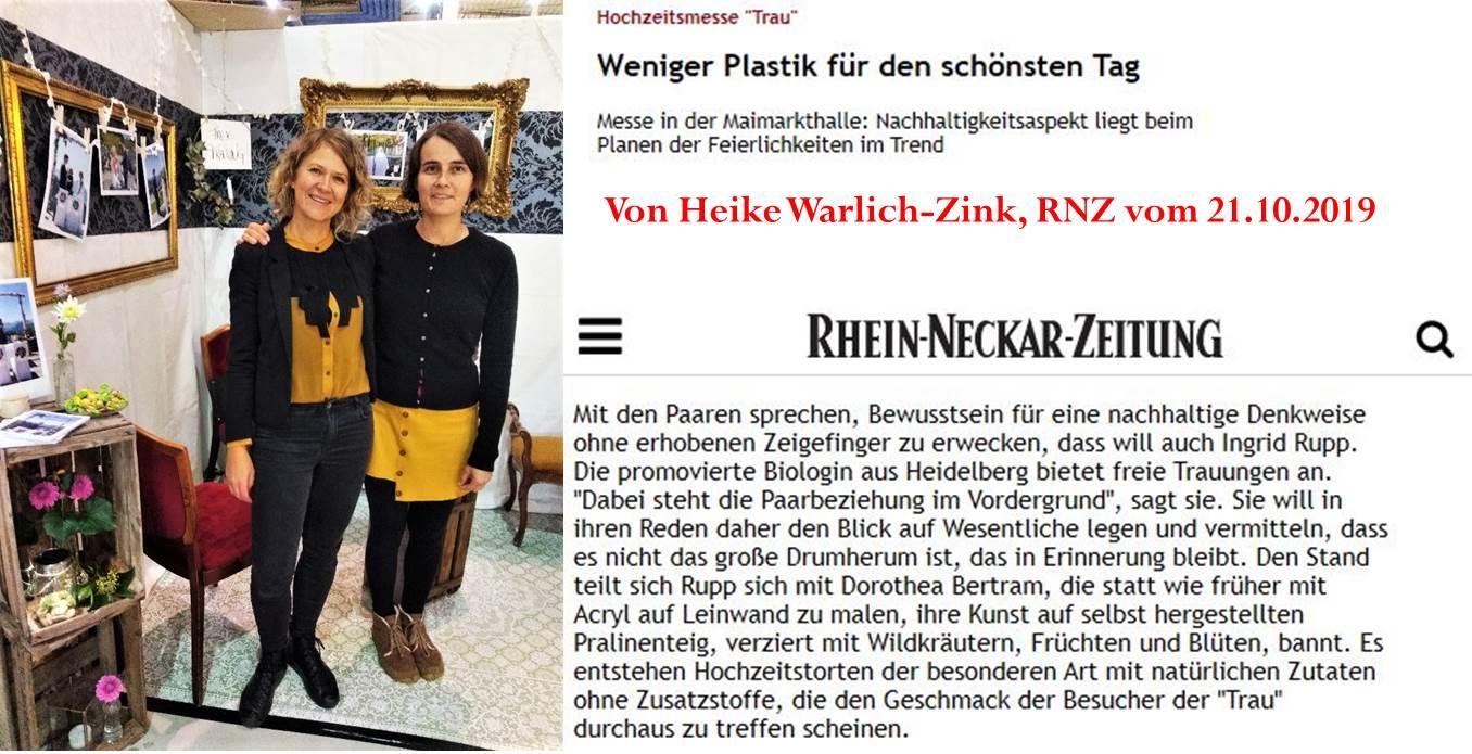 Traurednerin Ingrid und Künstlerin Doro aus Heidelberg